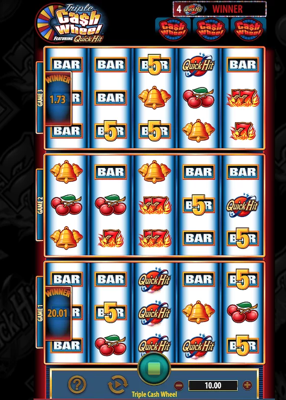 Triple cash wheel slot machine